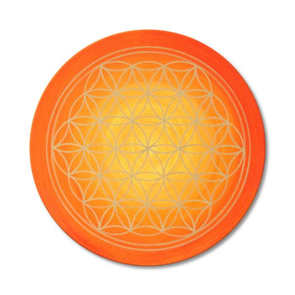 Blume des Lebens orange Keilrahmenbild Frontalbild Art 145