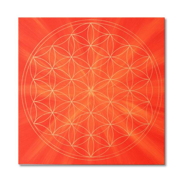 Blume des Lebens orange Keilrahmenbild Frontalbild Art 64