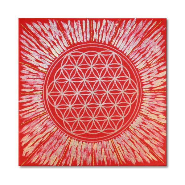 Blume des Lebens rot Keilrahmenbild Frontalbild Art 56