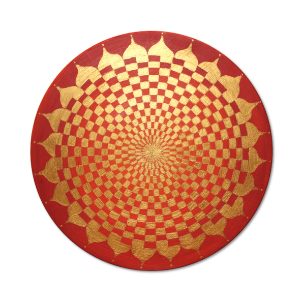 Holzplatte Energiebild Pranagenerator Gold Frontalbild