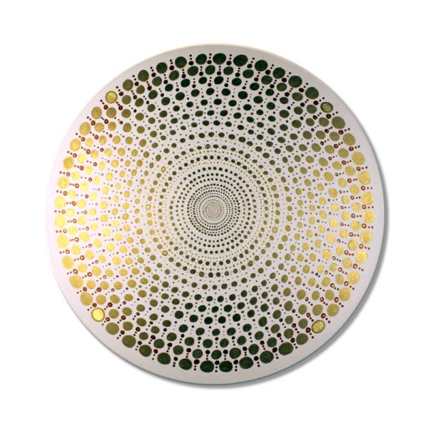 Wandbild Energiebild Mandala Element Metall gold Frontalbild