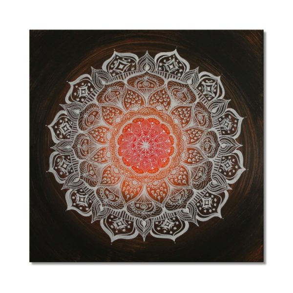Wandbild Energiebild Mandala Gabe weiß schwarz Frontalbild