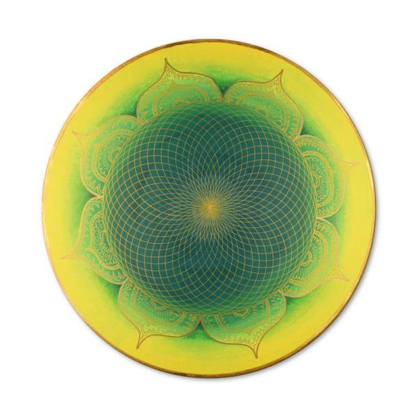 Wandbild Energiebild Mandala Herz des Orients gold grün gelb Frontalbild