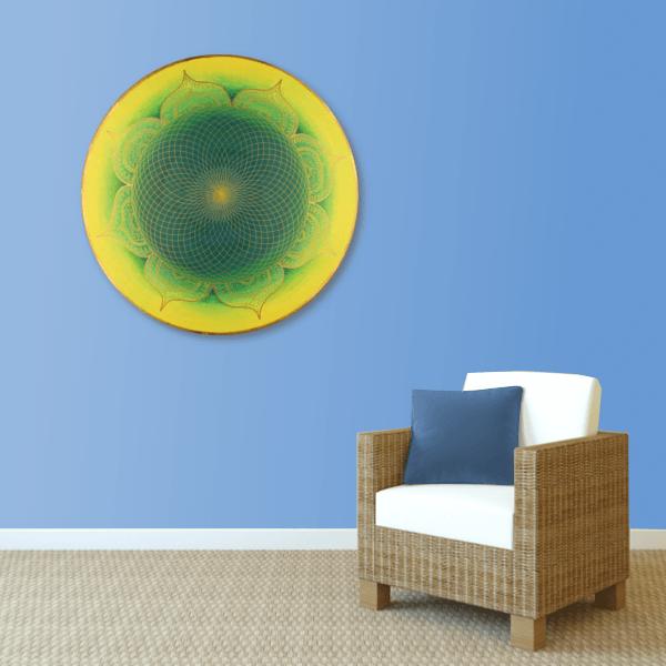 Mural energy art Mandala Heart-of-the-Orient gold green yellow