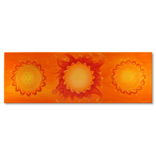 Wandbild Energiebild Power of Symbols Sri Yantra Gold orange Frontalbild