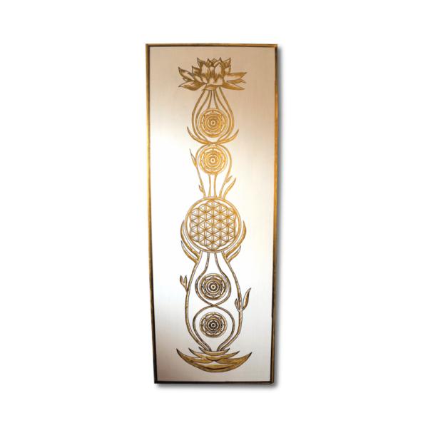 Wandbild Kundalini Gold Blume des Lebens Frontalbild